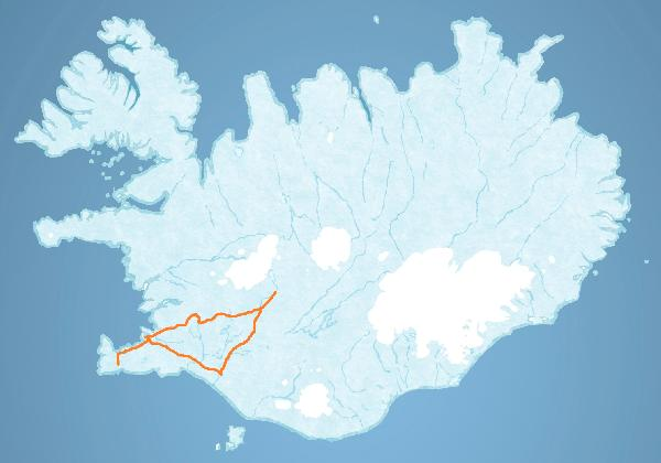 Map for The Golden Circle and the Blue Lagoon tour