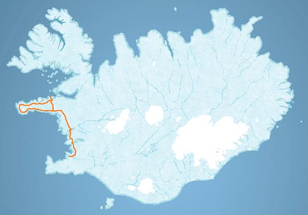 Map for Snæfellsnes National Park tour