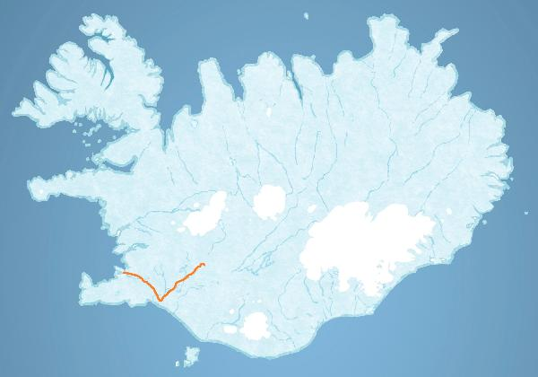 Map for Gullfoss Canyon Rafting tour