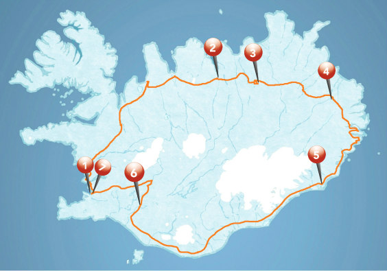 Map for Guided Iceland Circle - 2020 - 2021 tour