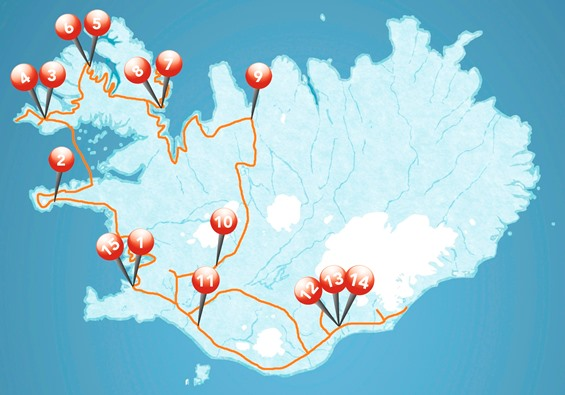 Map for The Westfjords in a nutshell with Snæfellsnes and Highlands of South Iceland  16 days tour