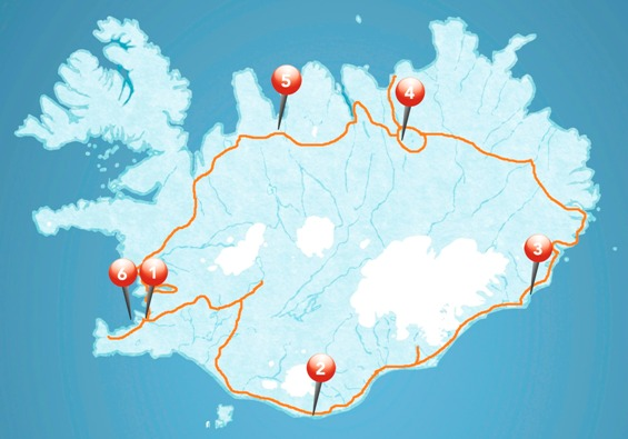 Map for Express Circle of Iceland - 7 days tour