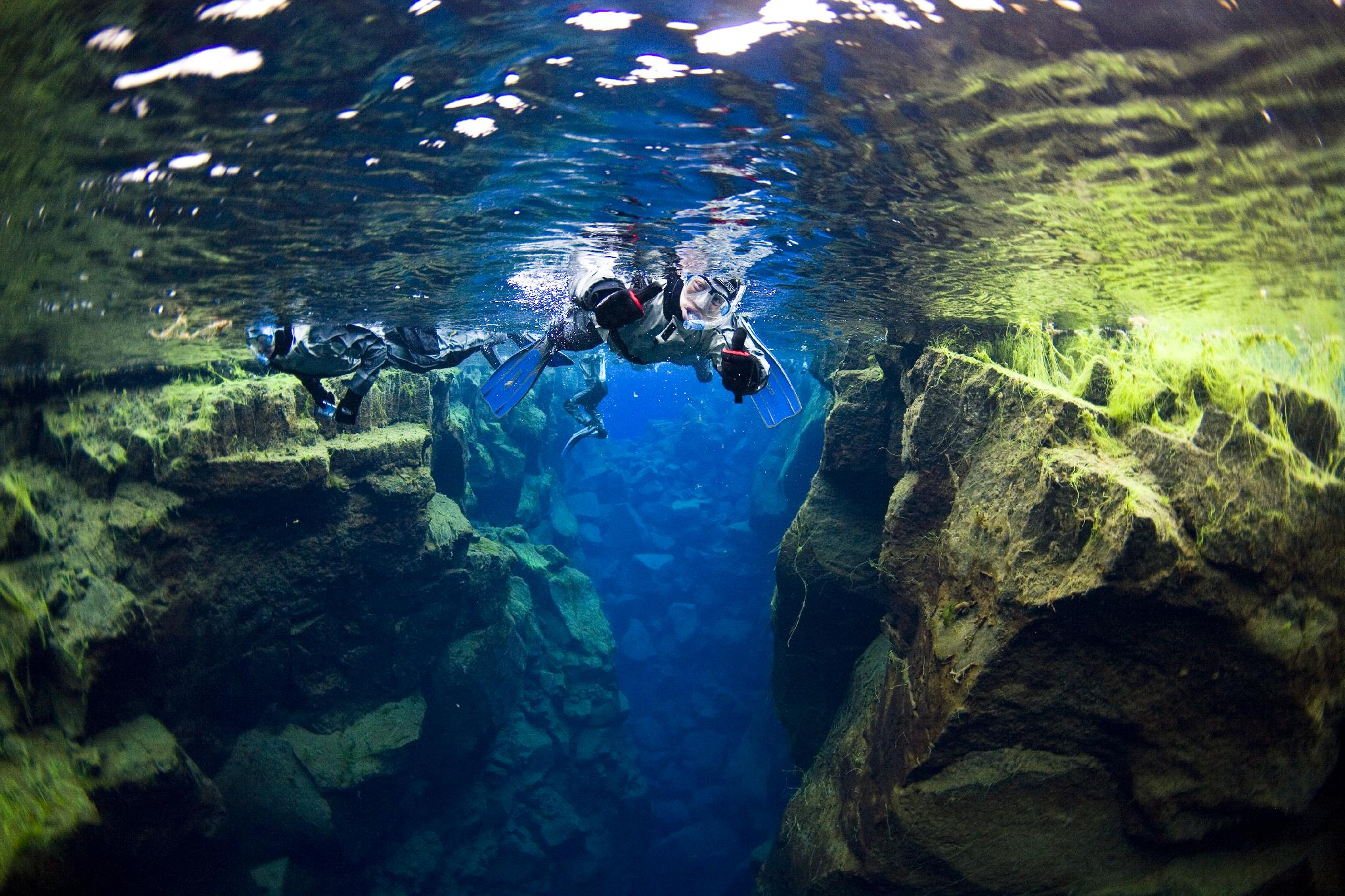 Snorkeling in Silfra Fissure at Þingvellir National Park